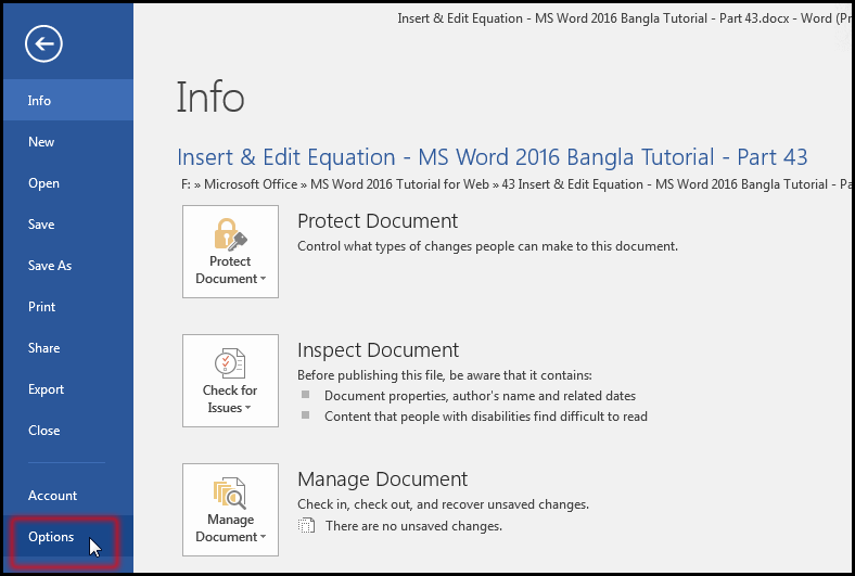 Enable Option for writing equation in MS Word 2016 Bangla Tutorial