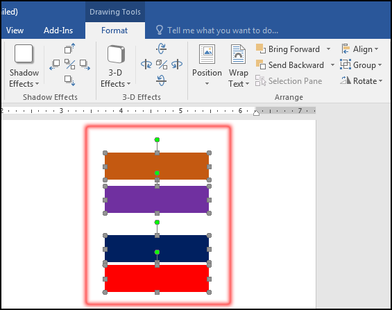 Select Object for Vertically Distribute Evenly in MS Word 2016 Bangla Tutorial