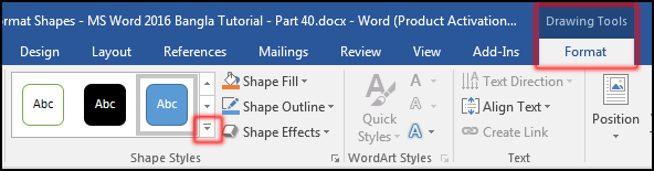 Change Shape Style in MS Word 2016 Bangla Tutorial