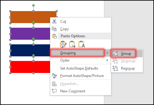 Align Order & Group Object [Group Object From Context Context Menu in MS Word 2016 Bangla Tutorial]