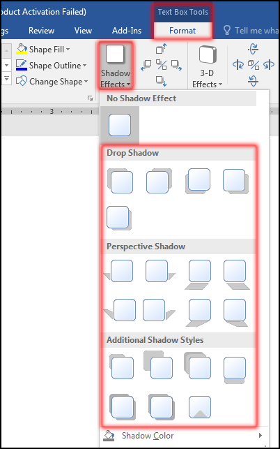 How to change Text Box Shadow and Color in MS Word 2016 Bangla Tutorial