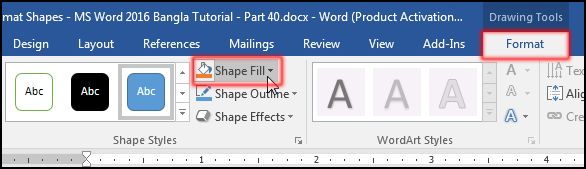 Change Shape Fill in MS Word 2016 Bangla Tutorial