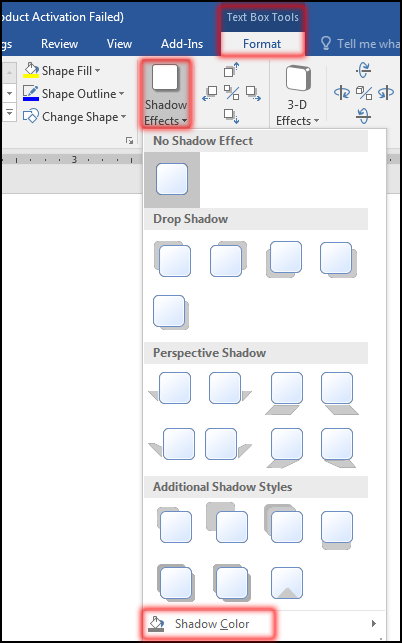 How to change Text Box Shadow Color in MS Word 2016 Bangla Tutorial