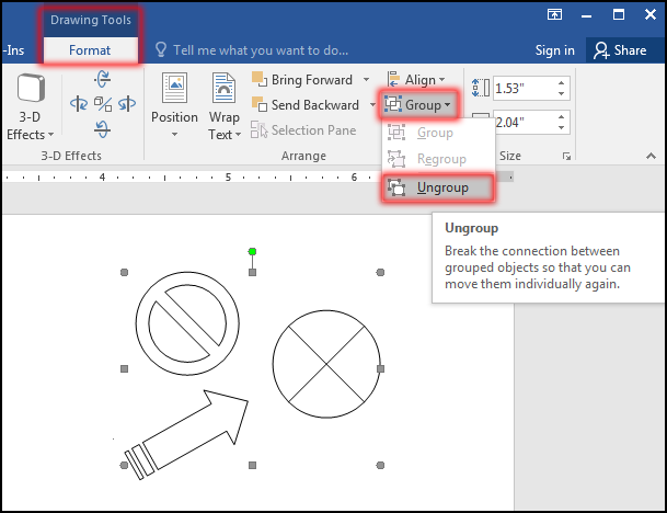 Ungroup Object in MS Word 2016 Bangla Tutorial