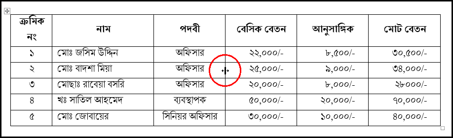 Change Column Width in MS Word 2016 Bangla Tutorial