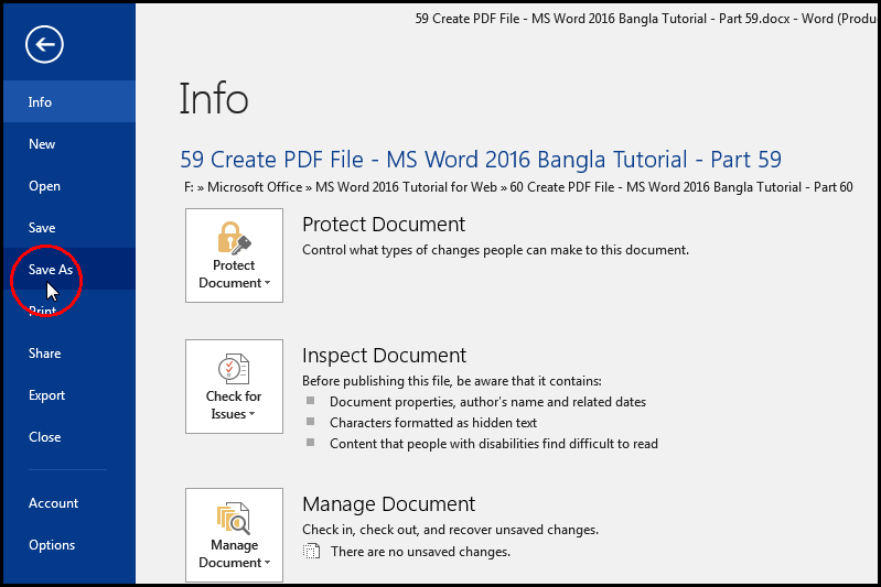 Create PDF Document with Save As in MS Word 2016 Bangla Tutorial