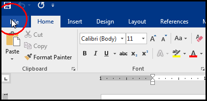 Select File from Tabbar for create template in MS Word 2016 Bangla Tutorial