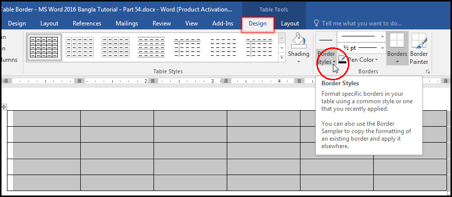 Select Table Style from Design Tab in MS Word 2016 Bangla Tutorial