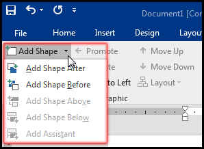 Add Shape in SmartArt from Design Tab in MS Word 2016 Bangla Tutorial