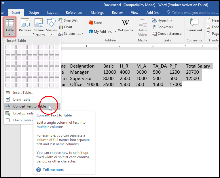 Convert Text to Table in MS Word 2016 Bangla Tutorial