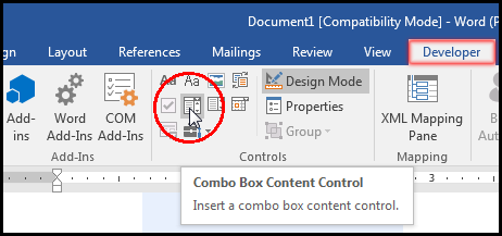 Select Combo Box Content Control in MS Word 2016 Bangla Tutorial