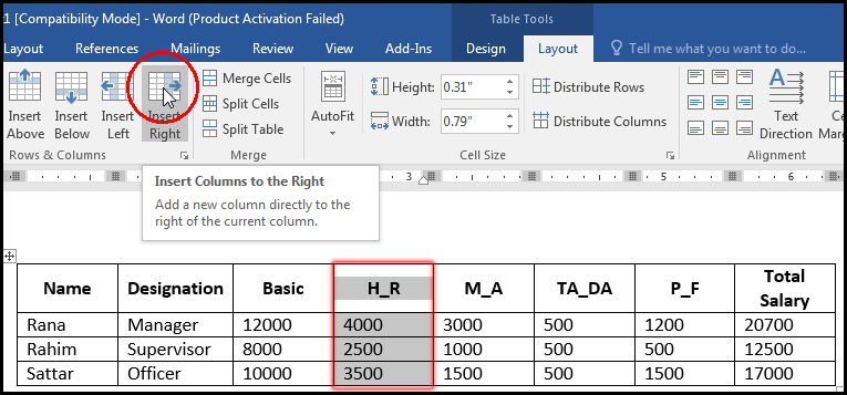 Insert Column in Right in a Table MS Word 2016 Bangla Tutorial