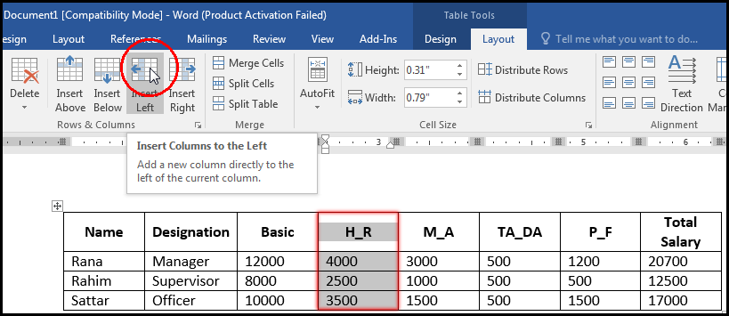 Insert Column in Left in a Table MS Word 2016 Bangla Tutorial
