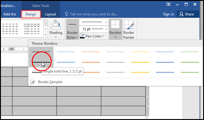 Select Border Style from Theme Borders in MS Word 2016 Bangla Tutorial