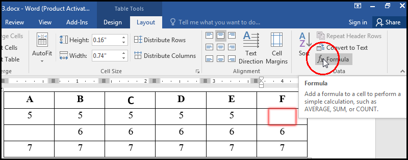 Select Formula For Add in MS Word 2016 Bangla Tutorial