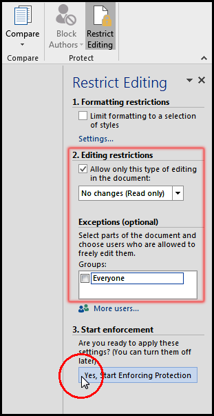 Yes start enforcing protection in MS Word 2016 Bangla Tutorial