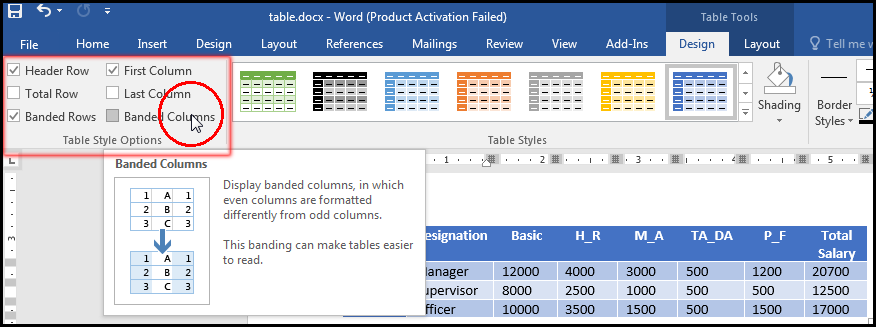 Change Various Table Style Option in MS Word 2016 Bangla Tutorial