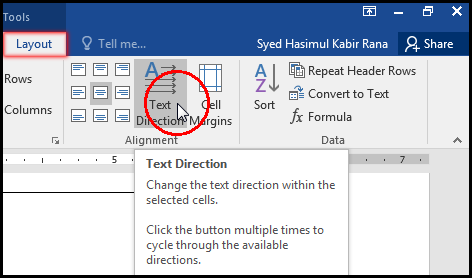 Text Direction in Table Cell MS Word 2016 Bangla Tutorial
