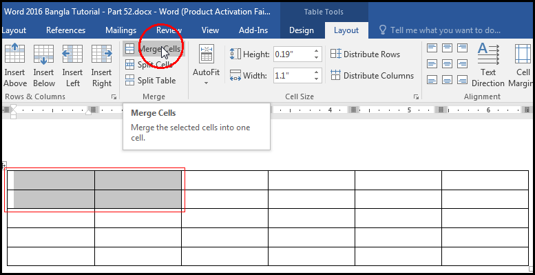 Merge Cells with Tab in MS Word 2016 Bangla Tutorial