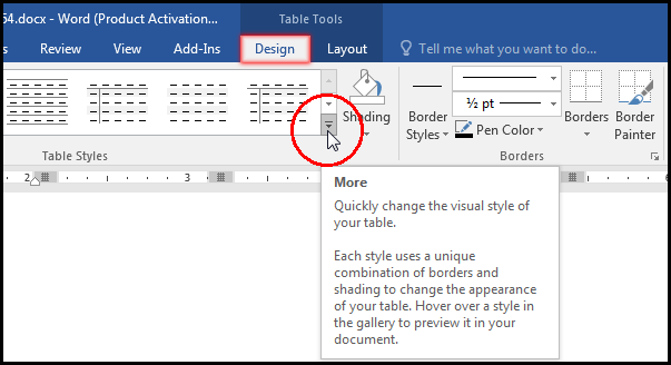 Click More for Select Table Style in MS Word 2016 Bangla Tutorial