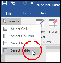 Select Table From Layout Tab in MS Word 2016 Bangla Tutorial