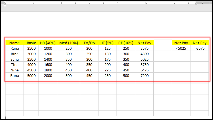 Inserted an Excel Sheet in Word Document - MS Word Bangla Tutorial