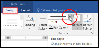 Select Line Style for Table Border in MS Word 2016 Bangla Tutorial