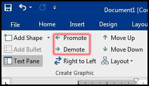 Promote & Demote Command in MS Word 2016 Bangla Tutorial