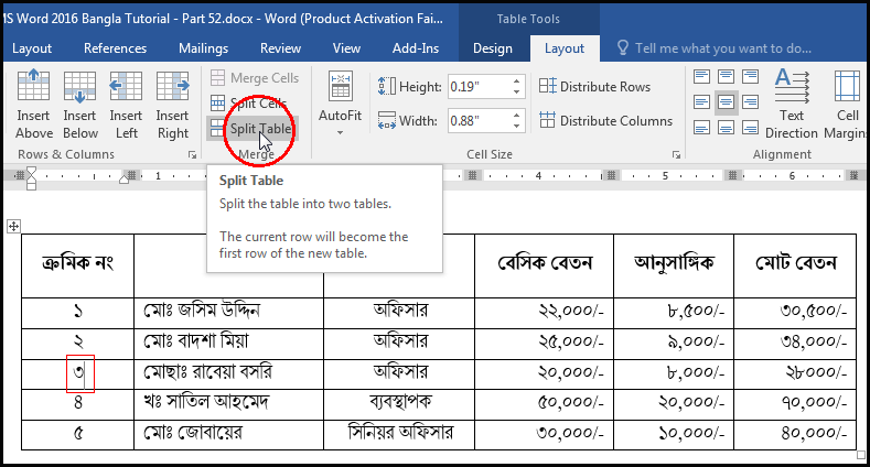 Split Table With Tab in MS Word 2016 Bangla Tutorial