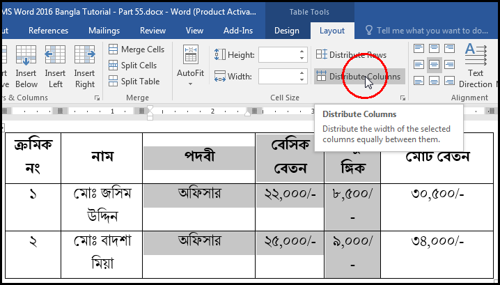 Distribute Columns Layout Tab in MS Word 2016 Bangla Tutorial