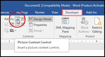 Select Picture Content Control in MS Word 2016 Bangla Tutorial