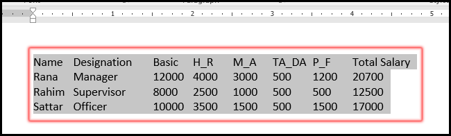 Type Text with Tab Key for Convert into Table in MS Word 2016 Bangla Tutorial
