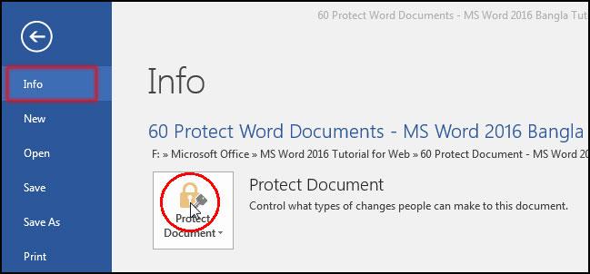 ওয়ার্ড ডকুমেন্ট প্রটেক্ট করা [Read Only Document from Info in MS Word 2016 Bangla Tutorial]