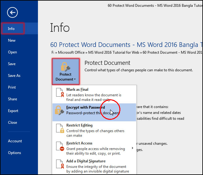 Protect Document in MS Word 2016 Bangla Tutorial