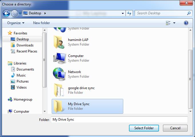 গুগল ড্রাইভ এর জন্য ফোল্ডার নির্বাচন [Choose any folder from your computer]