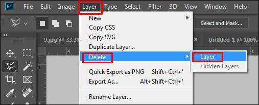 Delete Layer in Adobe Photoshop CC