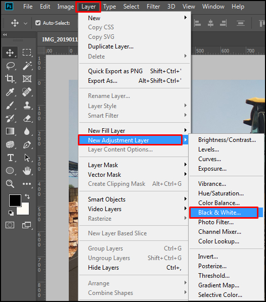 New Adjustment Layer in Adobe Photoshop CC