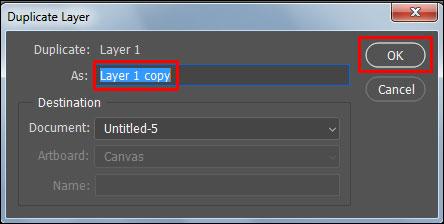 Duplicate layer in Adobe Photoshop CC