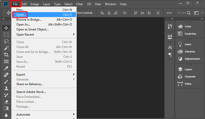 Open Image from File Menu in Adobe Photoshop CC