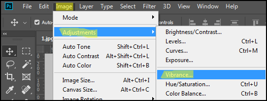 Change Vibrance and saturation of image in adobe Photoshop CC