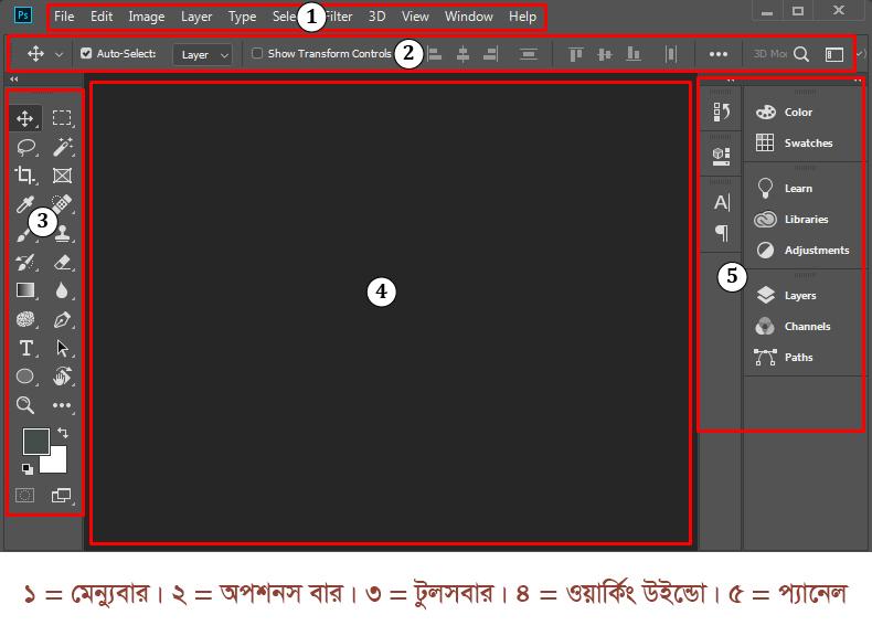 Interface of Adobe Photoshop CC Windo