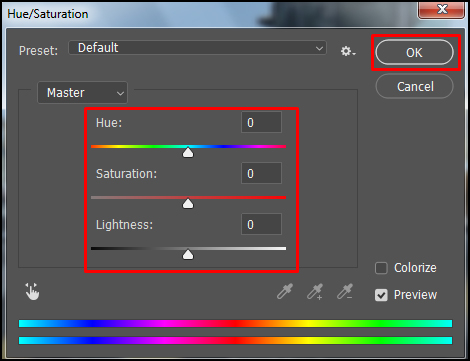 Change value of hue saturation in Adobe Photoshop CC