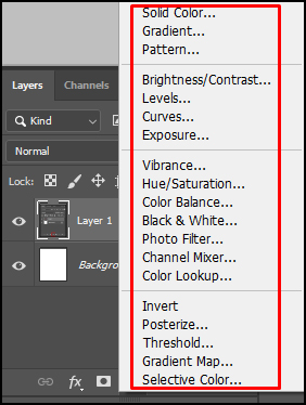 Various option of Adjustment Layer in Adobe Photoshop CC