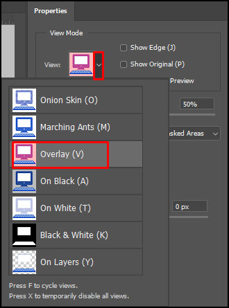 Select and Mask Overlay View in Adobe Photoshop CC