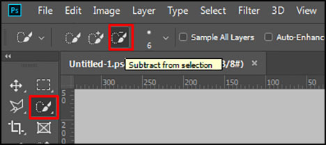 Subtract from Selection in Adobe Photoshop CC