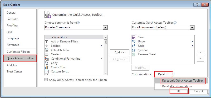 কারেন্ট ওয়ার্কবুকের জন্য Quick Access Toolbar কাস্টমাইজ করা