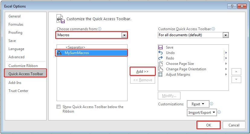 Quick Access Toolbar এ Macros যুক্ত করা