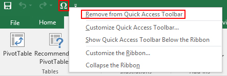 Customize Quick Access Toolbar in Excel 2016