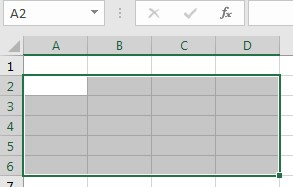 Select a range in excel 2016